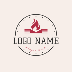 Encircled Red Book and Flame logo design