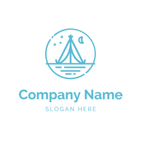 Encircled Scenery and Tent logo design