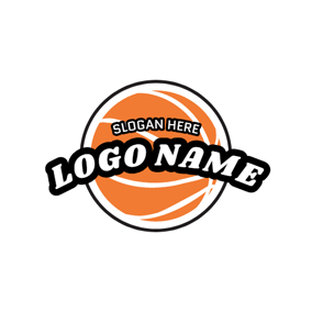 Encircled Yellow and White Basketball logo design