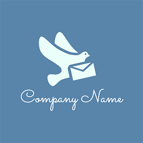 Envelope and Flying Homing Pigeon logo design