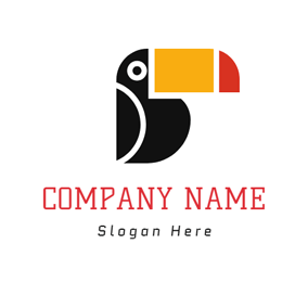Exaggerated Black Parrot logo design