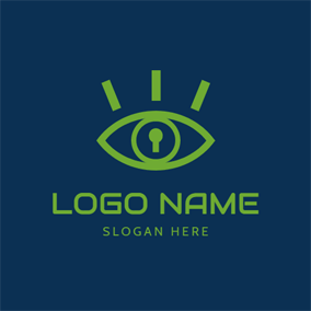 Eye and Keyhole Icon logo design