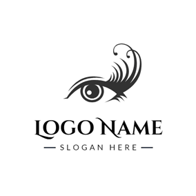 Eye and Long Eyelash logo design