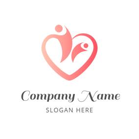 Family and Red Heart logo design