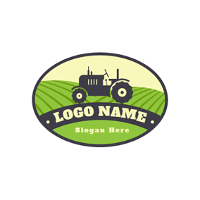Farm and Tractor Icon logo design
