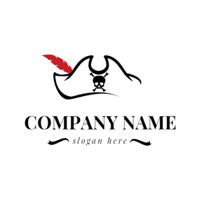 Feather and Pirates Hat logo design