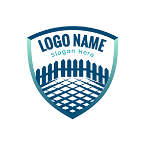 Fence Grid Shield Backyard logo design