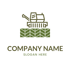 Fence With Combine Harvester logo design