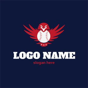 Fiery Red Bird and White Ball logo design
