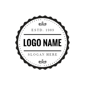 Figured Black Circle Postmark logo design