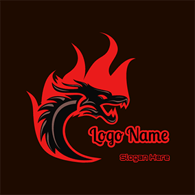 Fire and Dragon logo design