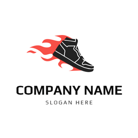 Fire and Sneaker Shoe logo design