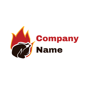 Fire and Turkey Food logo design
