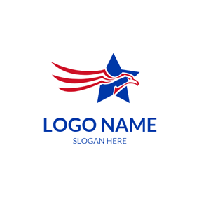 Five Pointed Star and Fly Eagle logo design