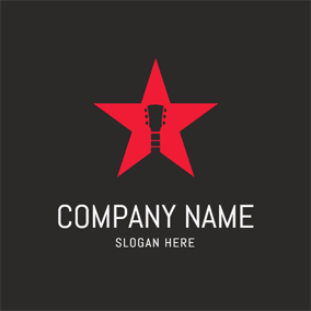 Five Pointed Star and Guitar logo design