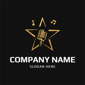 Five Pointed Star and Microphone logo design