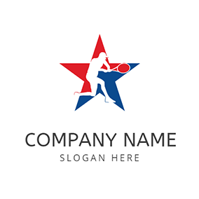 Five Pointed Star Player Squash logo design