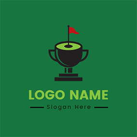 Flag Trophy and Golf Course logo design