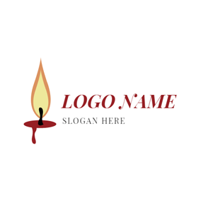 Flame and Small Candle logo design