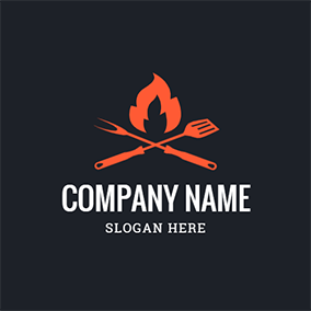 Flame Truner Fork Bbq logo design