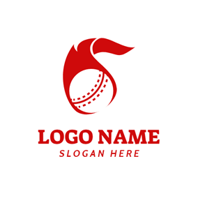 Flaming and Moving Cricket Ball logo design