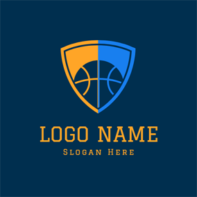 Flat Badge and Basketball logo design