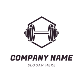 Flat Black Gym Equipment logo design
