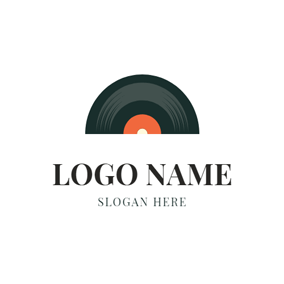 Flat Black Vinyl Icon logo design