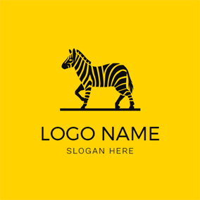 Flat Black Zebra Icon logo design