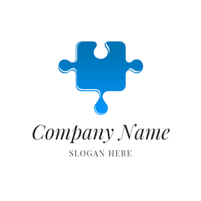 Flat Blue Puzzle Icon logo design