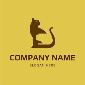 Flat Cat and Coffee Mug logo design