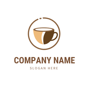 Flat Circle and Coffee logo design