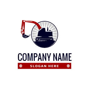 Flat Circle and Excavator logo design