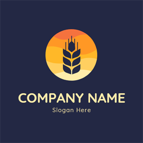 Flat Circle and Wheat logo design