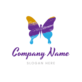 Flat Colorful Butterfly logo design