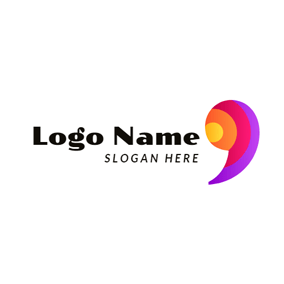 Flat Colorful Comma Symbol logo design