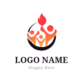 Flat Fire and Abstract Person logo design