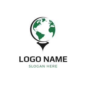 Flat Golf Ball logo design