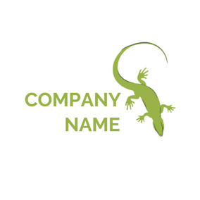 Flat Green Chameleon Icon logo design