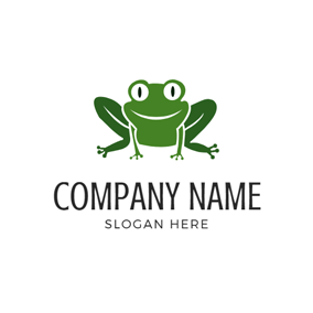 Flat Green Frog Icon logo design