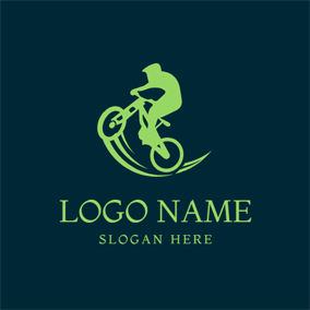Flat Green Pathway and Bike logo design
