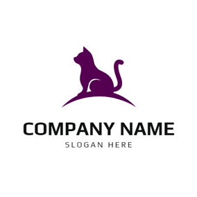 Flat Purple Cat logo design