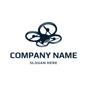Flat Quadrocopter and Drone logo design