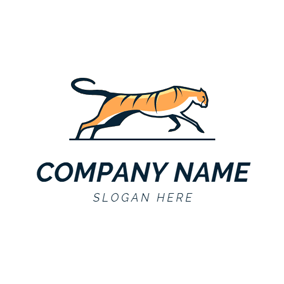 Flat Running Tiger logo design