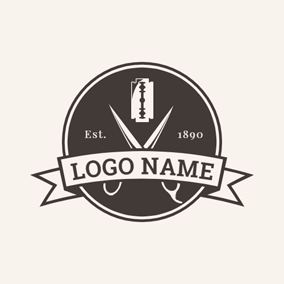 Flat Scissor and Razor logo design