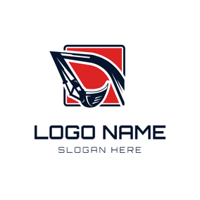 Flat Square and Excavator logo design