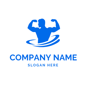 Flat Strong Muscle Man logo design