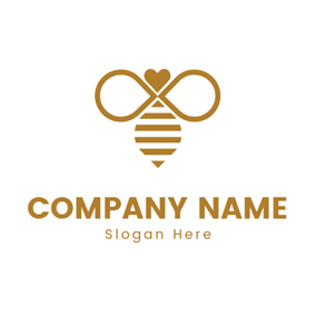 Flat Wing and Bee logo design