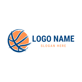 Flat Yellow Basketball logo design