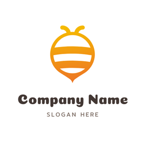 Flat Yellow Circle and Bee logo design